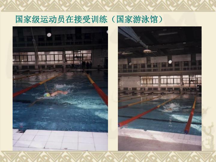 国家级运动员在接受训练(国家游泳馆)