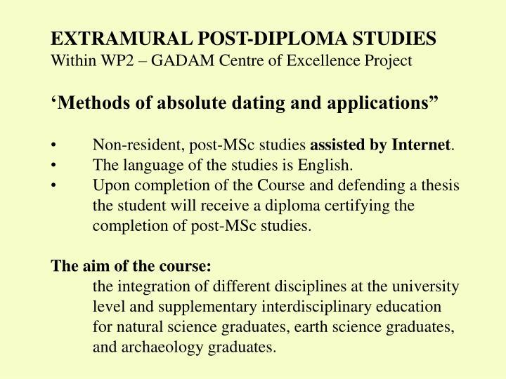 EXTRAMURAL POST-DIPLOMA STUDIES