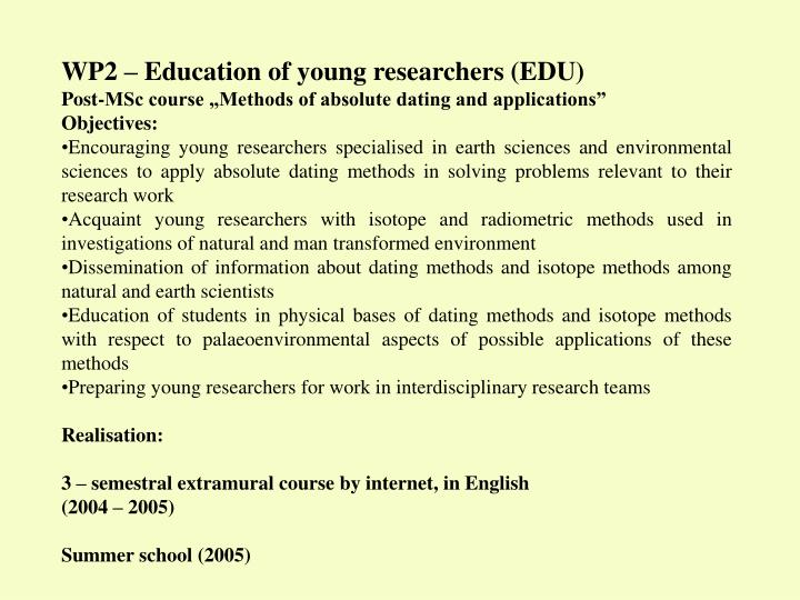 WP2 – Education of young researchers (EDU)