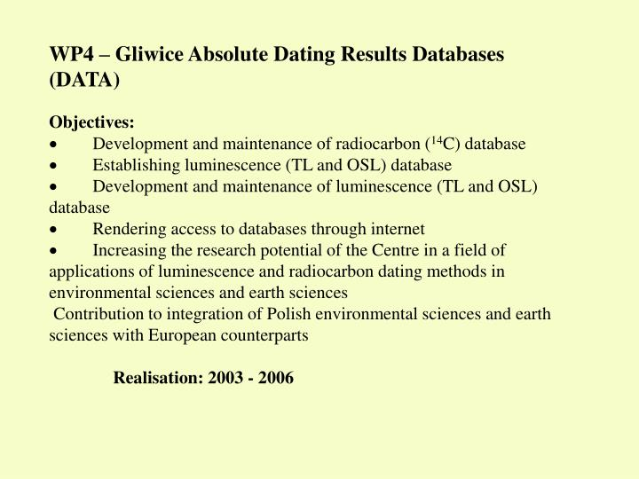 WP4 – Gliwice Absolute Dating Results Databases (DATA)