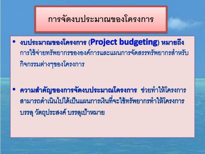 การจัดงบประมาณของโครงการ