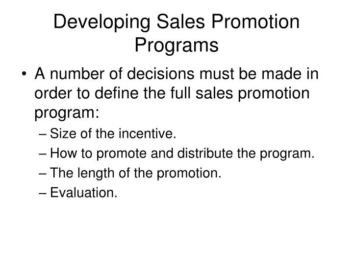 Developing Sales Promotion Programs
