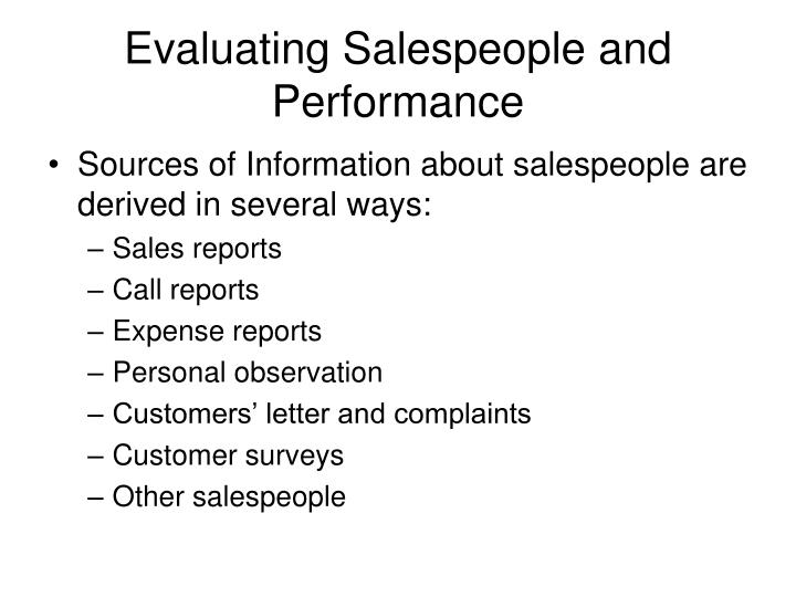 Evaluating Salespeople and Performance