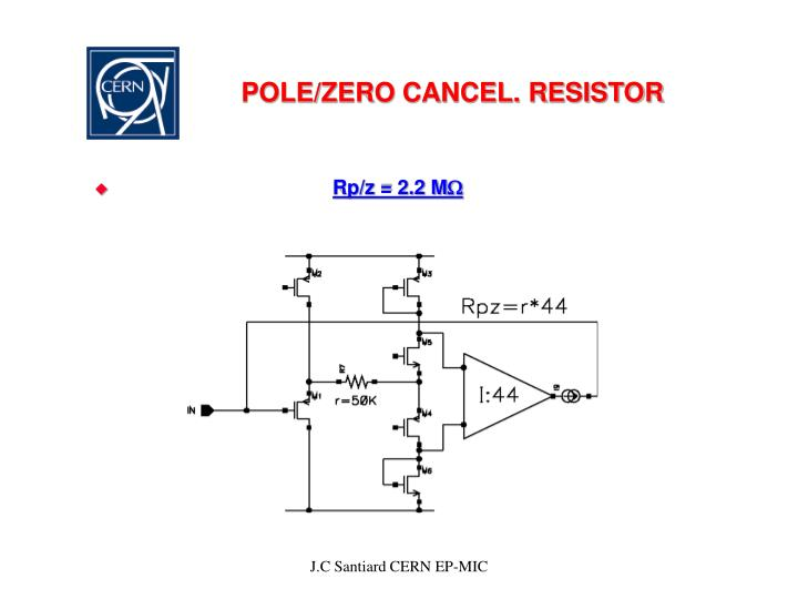 POLE/ZERO CANCEL. RESISTOR