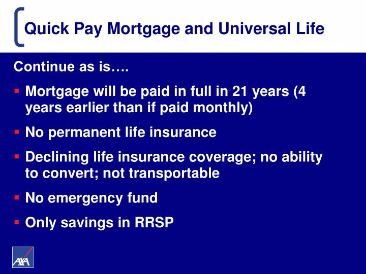 Quick Pay Mortgage and Universal Life