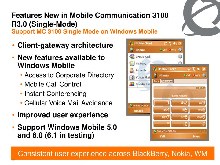 Features New in Mobile Communication 3100 R3.0 (Single-Mode)