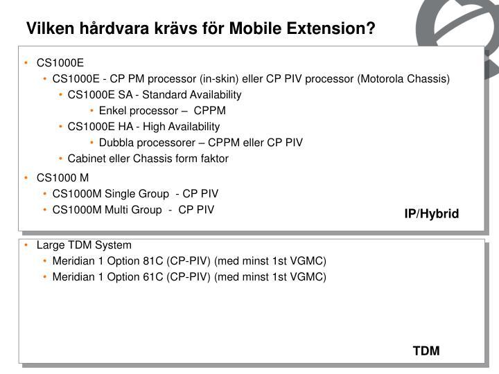 Vilken hårdvara krävs för Mobile Extension?