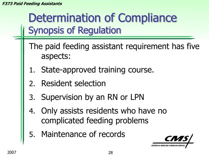 Determination of Compliance