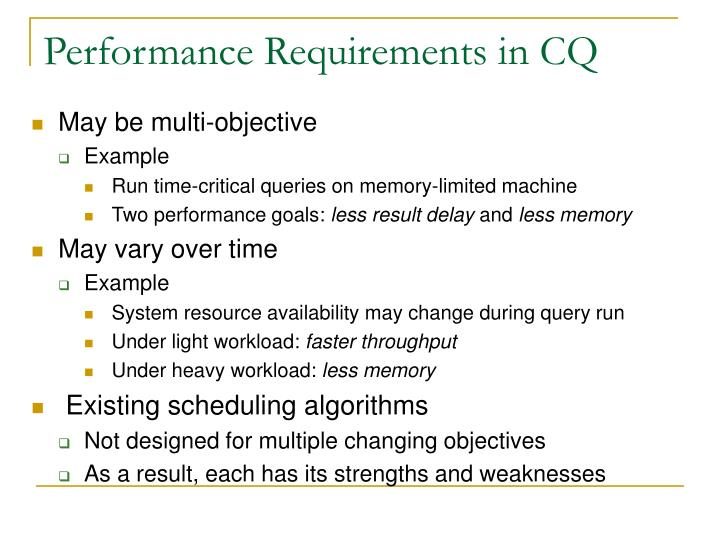 Performance Requirements in CQ