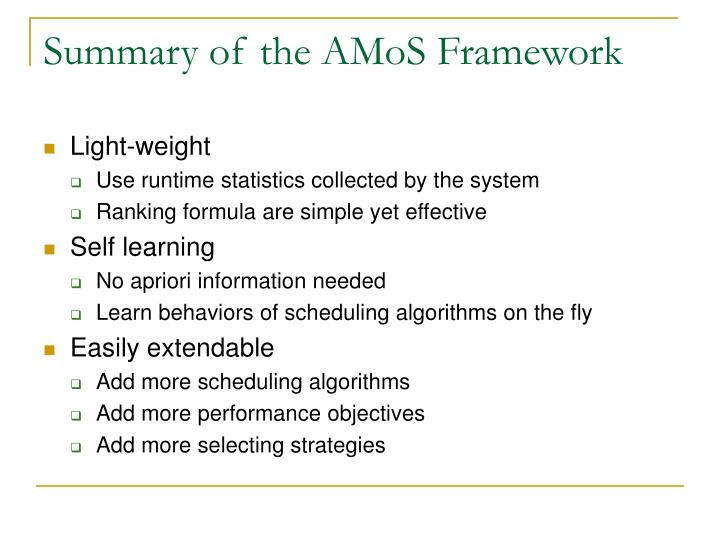 Summary of the AMoS Framework