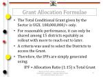 grant allocation formulae