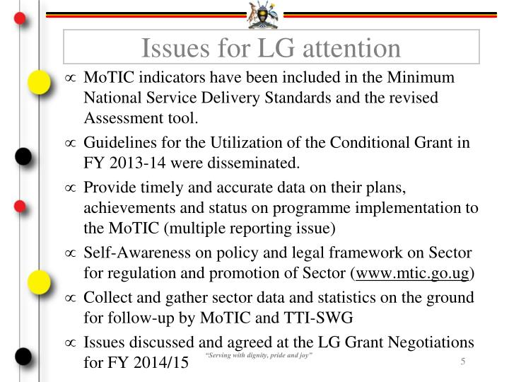 Issues for LG attention