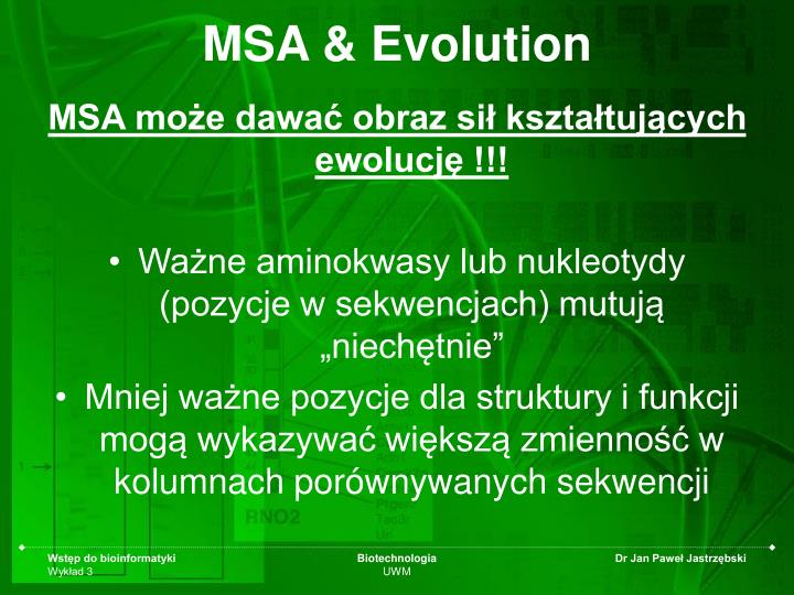 MSA & Evolution