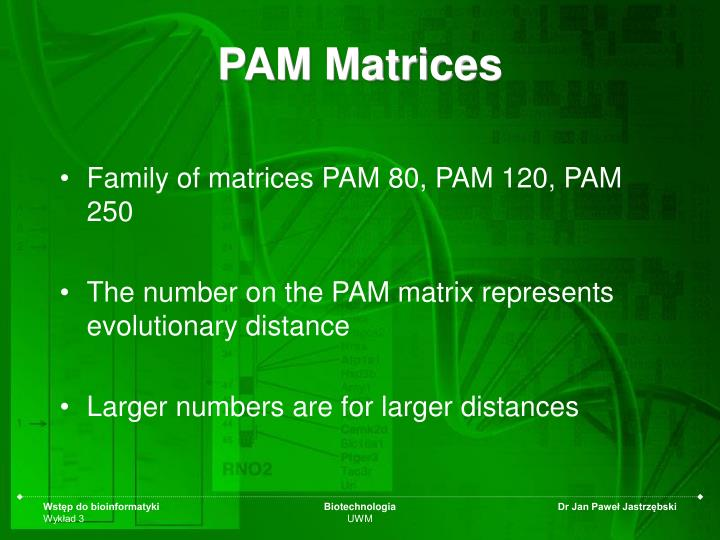 PAM Matrices
