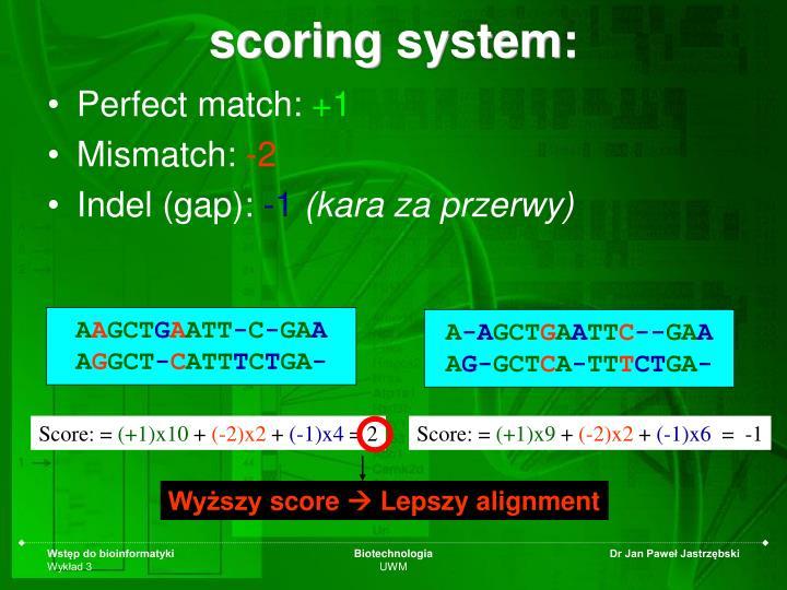 scoring system: