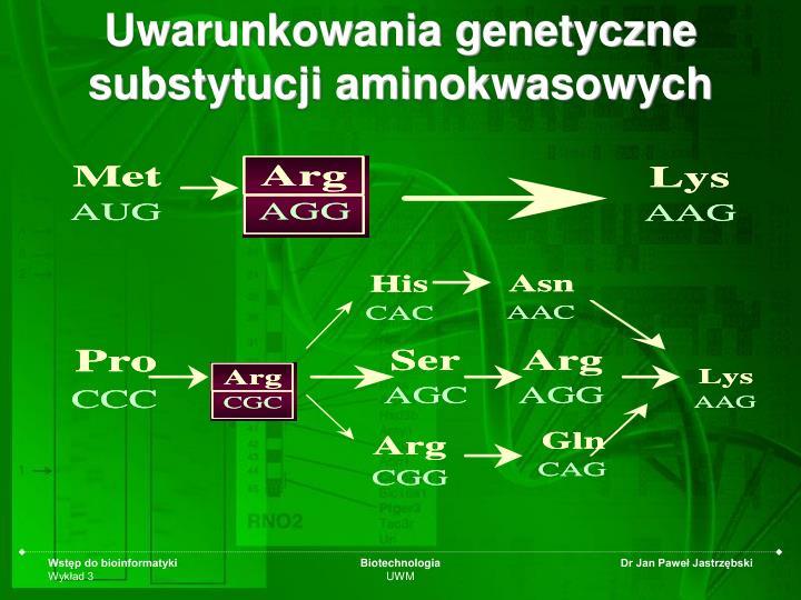 Uwarunkowania genetyczne substytucji aminokwasowych