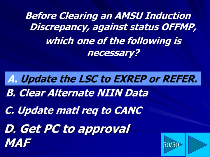 Before Clearing an AMSU Induction Discrepancy, against status OFFMP, which