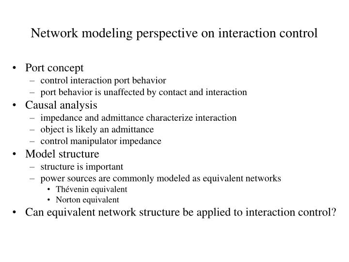 Network modeling perspective on interaction control