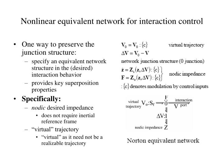 Nonlinear equivalent network for interaction control