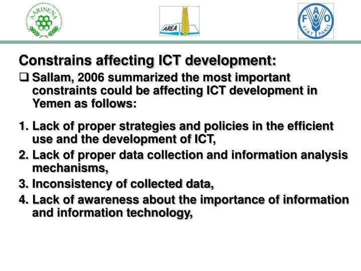 Constrains affecting ICT development: