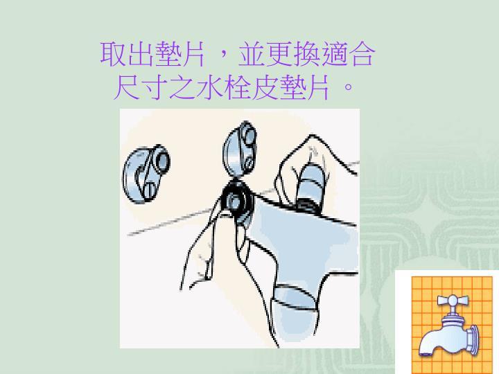 取出墊片,並更換適合尺寸之水栓皮墊片。