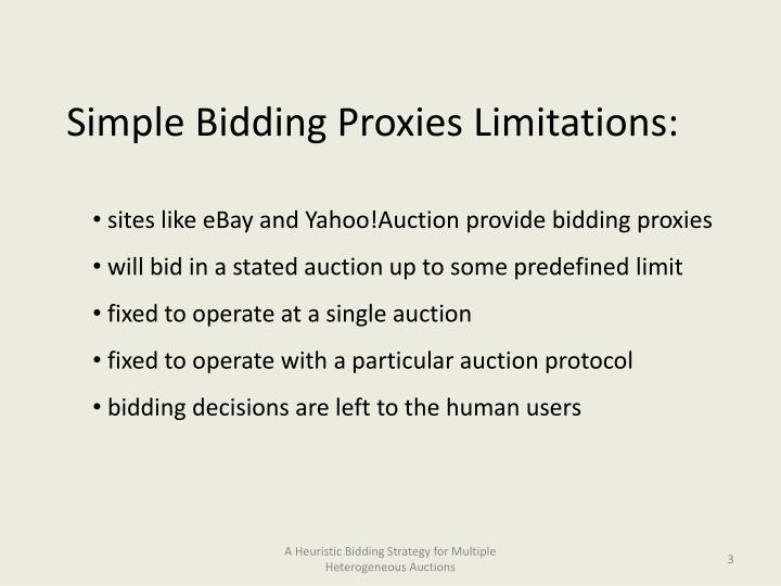 Simple Bidding Proxies Limitations: