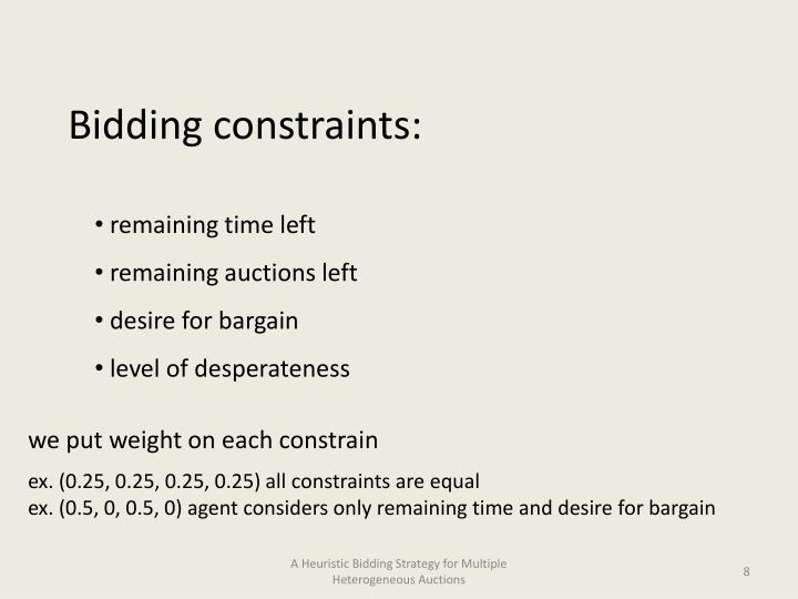 Bidding constraints: