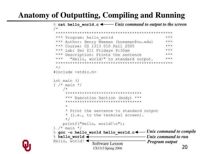 Anatomy of Outputting, Compiling and Running