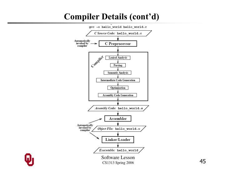 Compiler Details (cont'd)
