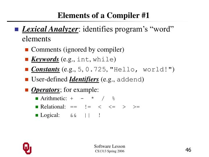 Elements of a Compiler #1