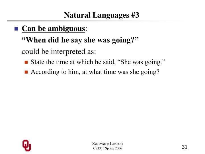 Natural Languages #3