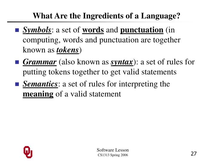 What Are the Ingredients of a Language?