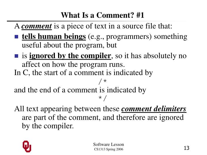 What Is a Comment? #1