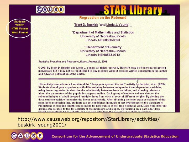 http://www.causeweb.org/repository/StarLibrary/activities/buskirk_young2001/