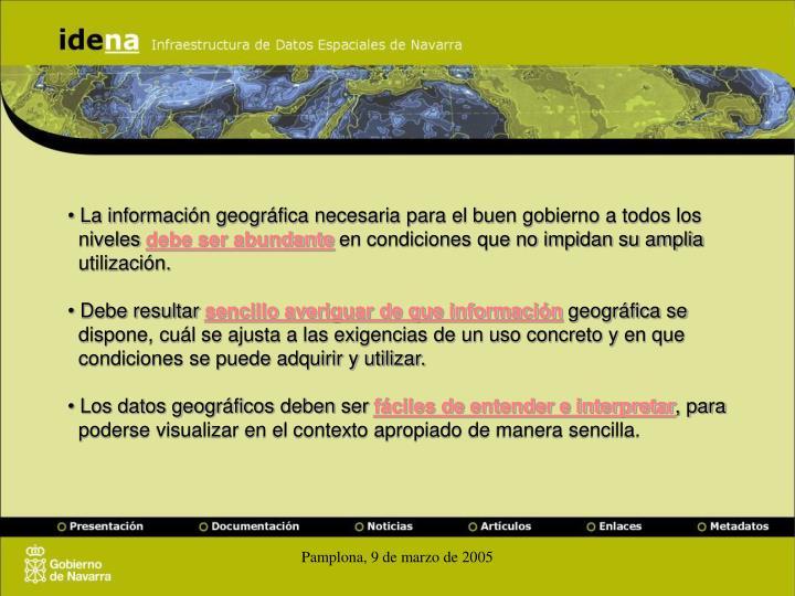 La información geográfica necesaria para el buen gobierno a todos los