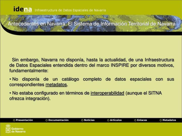 Antecedentes en Navarra: El Sistema de Información Territorial de Navarra