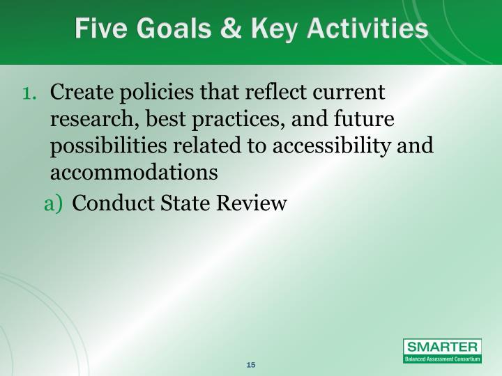 Five Goals & Key Activities
