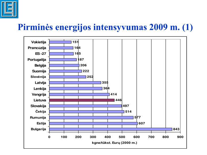 Pirminės energijos intensyvumas 2009 m. (1)