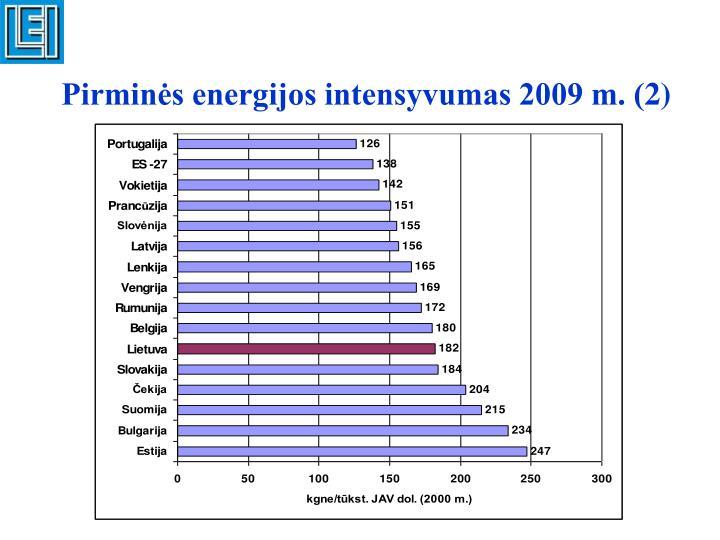 Pirminės energijos intensyvumas 2009 m. (