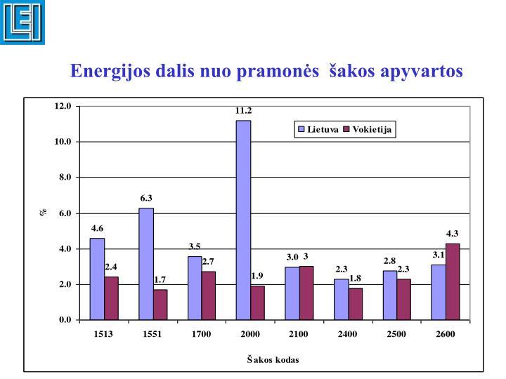 Energijos dalis nuo pramonės  šakos apyvartos