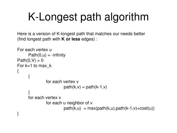 K-Longest path algorithm