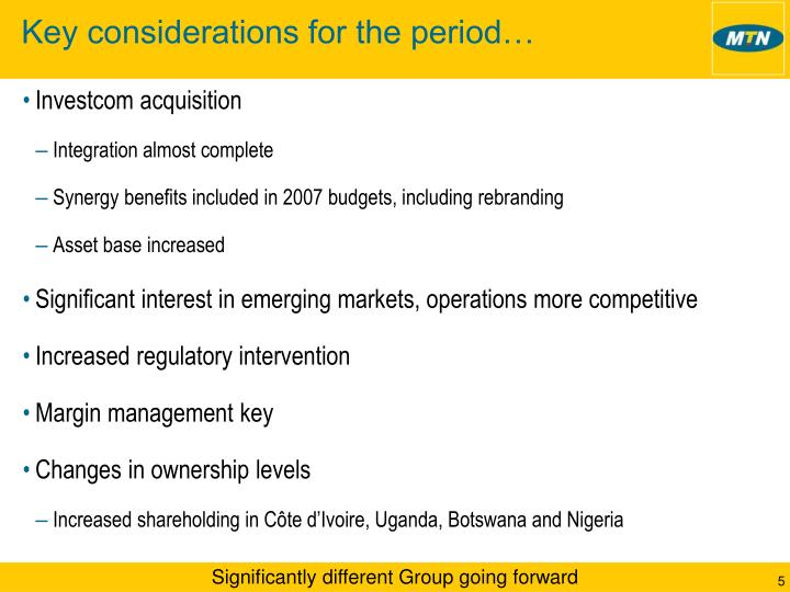 Key considerations for the period…