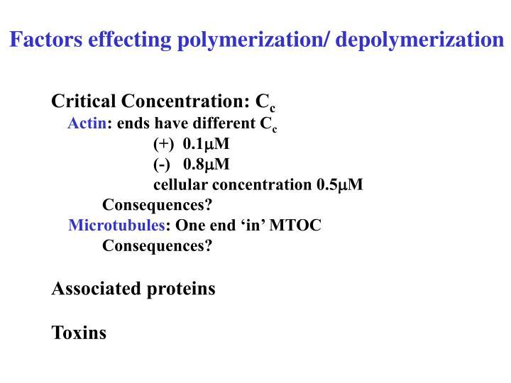 Factors effecting polymerization/ depolymerization