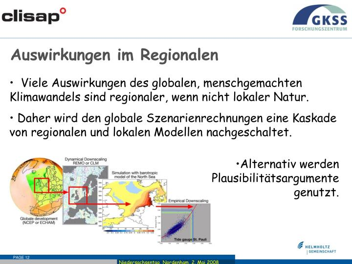 Auswirkungen im Regionalen