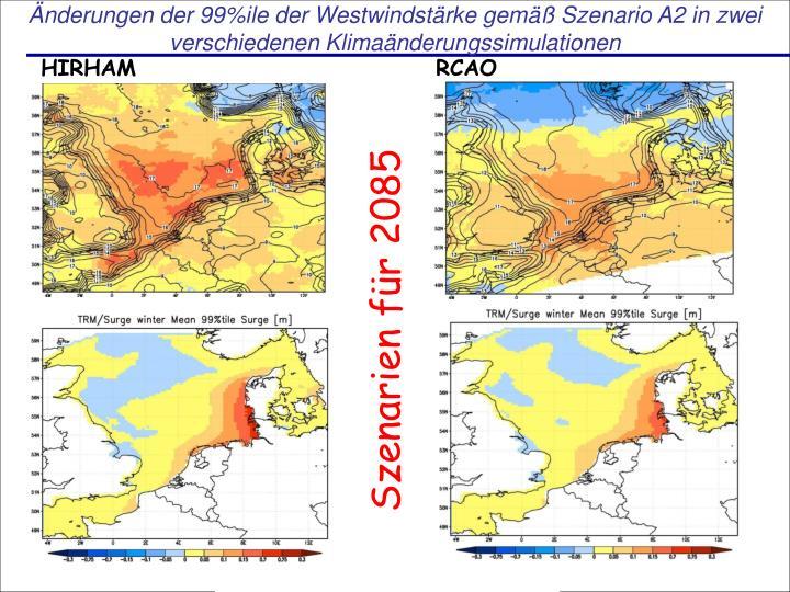 Änderungen der 99%ile der Westwindstärke gemäß Szenario A2 in zwei verschiedenen Klimaänderungssimulationen