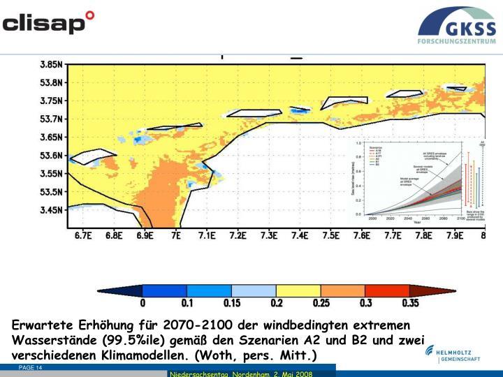 Erwartete Erhöhung für 2070-2100 der windbedingten extremen Wasserstände (99.5%ile) gemäß den Szenarien A2 und B2 und zwei verschiedenen Klimamodellen. (Woth, pers. Mitt.)