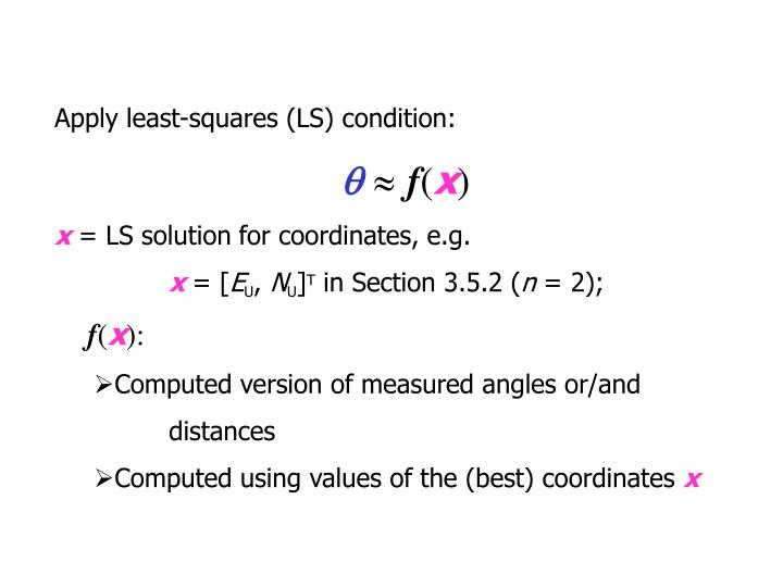 Apply least-squares (LS) condition: