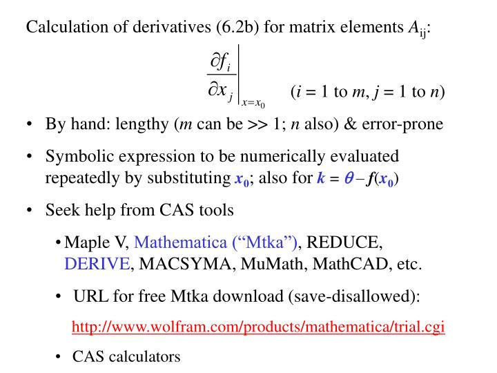 Calculation of derivatives (6.2b) for matrix elements