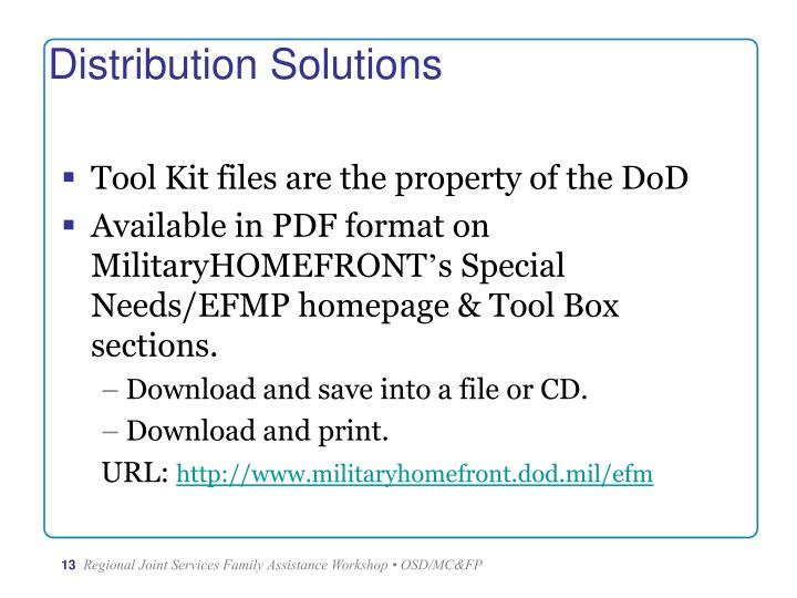Tool Kit files are the property of the DoD