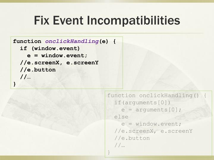 Fix Event Incompatibilities